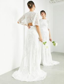 Savannah vintage embroidered wedding dress with flutter sleeve-White