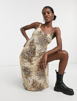 Midi dress with thigh split in animal print-Neutral