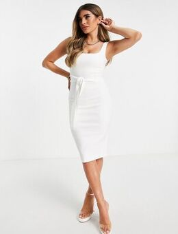 Square neck midi bodycon dress in ivory-White