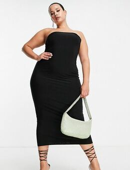Bandeau midi dress in black