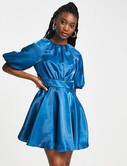 Bow back satin mini dress in blue-Green