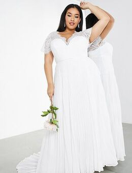 Curve Sophia plunge lace wedding dress with pleated skirt-White