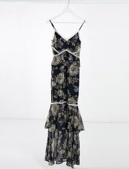 Floral Print Fishtail Maxi Dress in navy