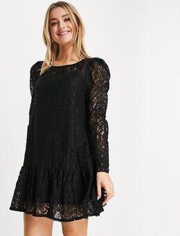 Lace tiered mini smock dress in black