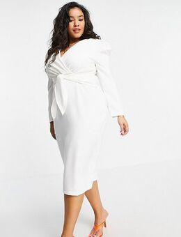 Puff shoulder tie front detail midi dress in cream-White