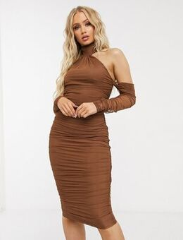 Mesh fallen shoulder halter neck midi dress with ruched detail in chocolate-Brown