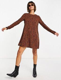 A line swing dress in brown animal print