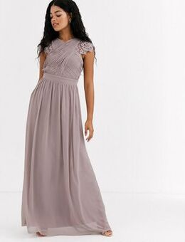Lace insert drape maxi dress in oyster-Brown