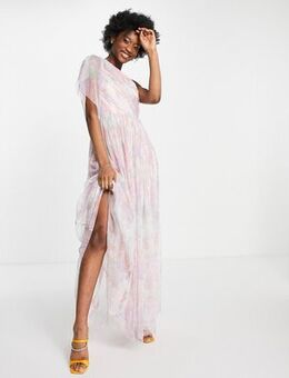 With Love tulle one shoulder maxi dress in floral print-Multi