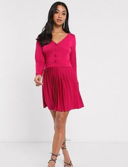 ASOS DESIGN Petite long sleeve pleated mini dress-Red