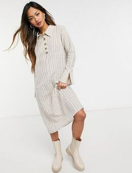 Pin striped dress with collar-Navy