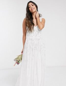 All over embellished maxi dress in white