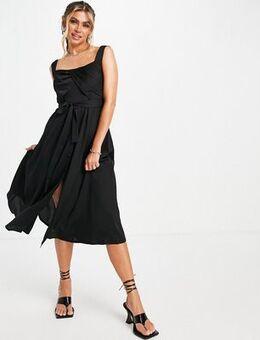 Square neck midi dress in black