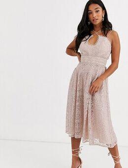 ASOS DESIGN Petite cami strap midi prom dress in lace with circle trims-Multi