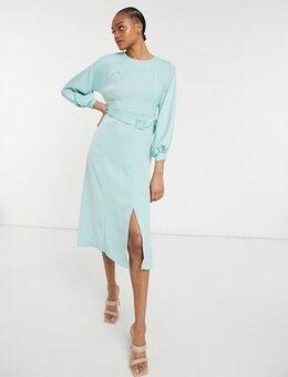 Belted midi dress in mint-Green