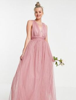 ASOS DESIGN Tall tulle plunge maxi dress dress with bow back detail in rose-Pink