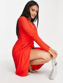 Wrap midi dress in red