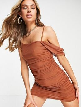 Mesh off shoulder bodycon dress in tan-Brown