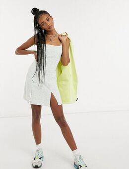 Square neck mini dress in ditsy floral-Green