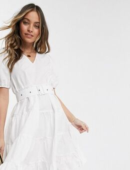 Tiered smock dress with removeable belted waist in white