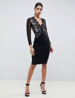 London bodycon midi dress with scalloped lace detail in black