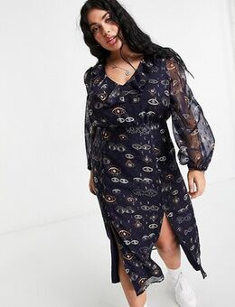 Midi tea dress with ruffle collar in navy eye print