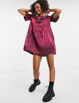 Smock dress in burgundy shimmer-Purple