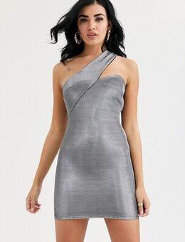 Asymmetric metallic one shoulder mini dress-Silver