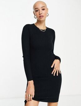 Ribbed knitted bodycon dress in black