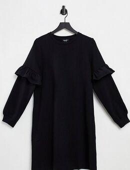 Frill sweatshirt dress in black