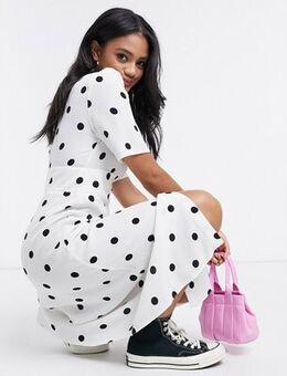Button front midi dress in spot print-White