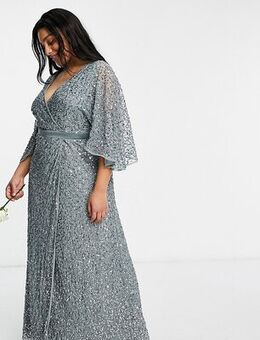 Bridesmaid delicate sequin wrap maxi dress in misty green