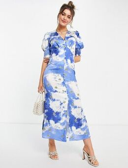 Puff sleeve button midi dress with gold stars in blue sky print