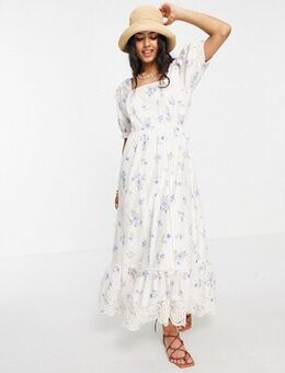 Maxi smock dress in printed broderie detail-White