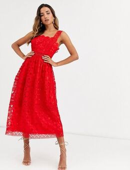 Broderie cami midi prom dress in red