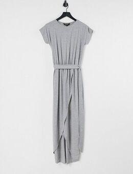 Wrap maxi t-shirt dress-Grey