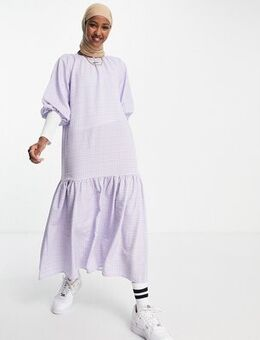 Oversized sleeve tiered midi dress in lilac gingham-Purple