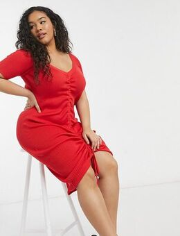 Ruched dress in red