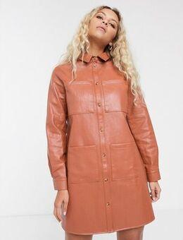 Oversized leather look shirt dress in rust-Orange