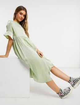 Long smock dress in mint shimmer-Green
