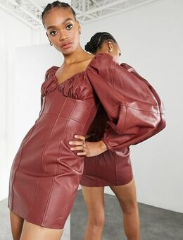 Leather mini dress with bust ruching in conker-Red