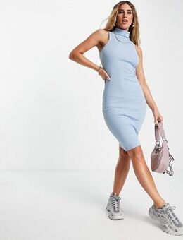 Turtleneck ribbed bodycon dress in blue