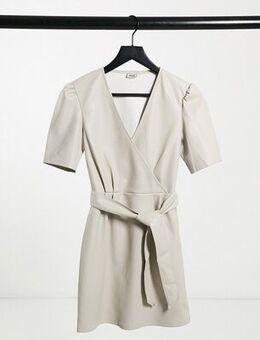 Faux leather wrap dress in ecru-White