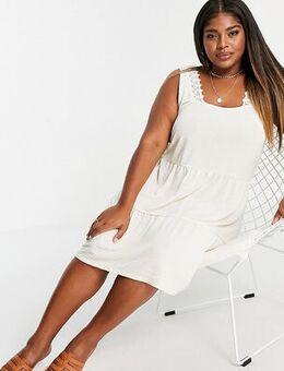 Tiered mini dress in cream-White