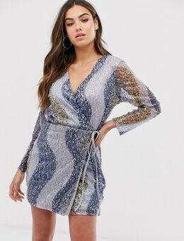 Multi sequin wrap dress