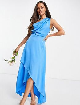Bridesmaid one shoulder maxi dress in cobalt blue