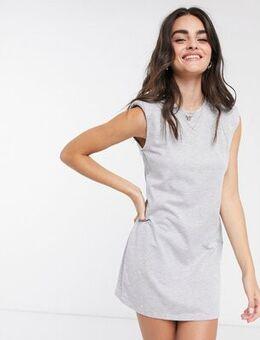 Padded shoulder dress in grey
