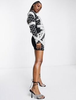 Embellished dress in black and white-Multi