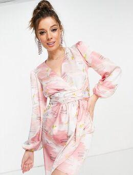 Knot front plunge martini mini dress-Pink