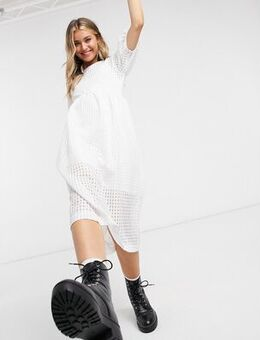 Midi smock dress with puff sleeves-White